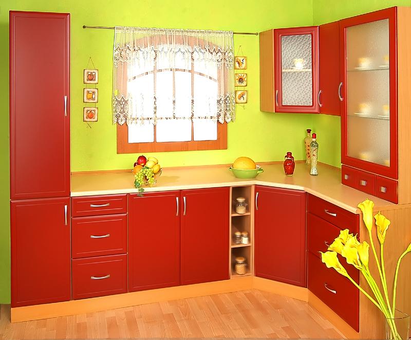 Rohová kuchyně na míru Atos - červená