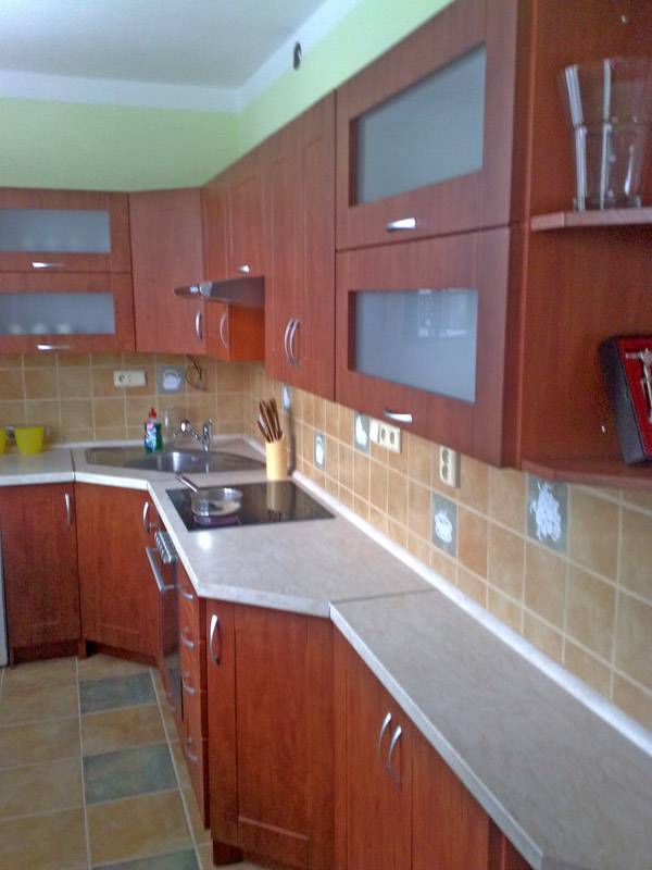 Rohová paneláková kuchyně Wybráno