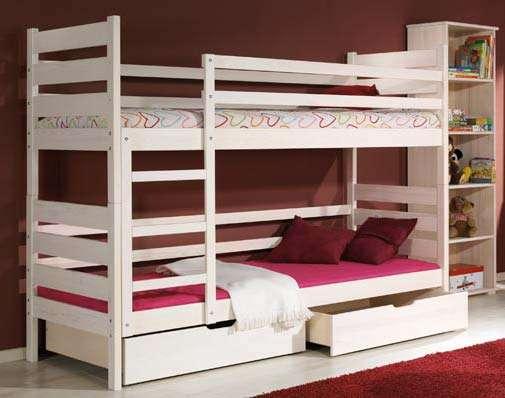 Dřevěná dětská patrová postel s úložným prostorem Darek