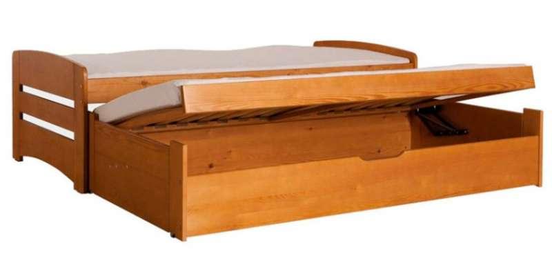 Dřevěná dětská postel s přistýlkou a úložným prostorem Bartek