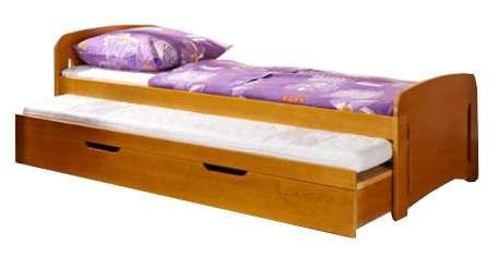 Dřevěná dětská postel s přistýlkou a úložným prostorem Wojtek