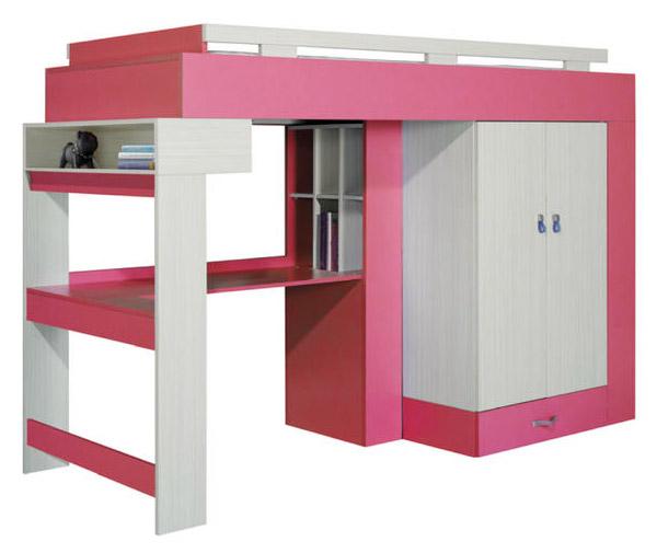 Dětská palanda s psacím stolem a skříní KM15 Komi