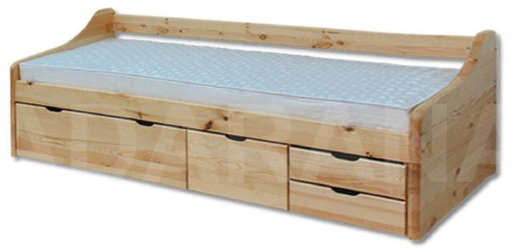 Dětská dřevěná postel s úložným prostorem a šuplíky - borovice
