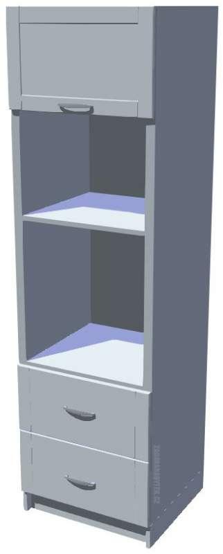 Skříň na vestavnou troubu a mikrovlnku s šuplíky