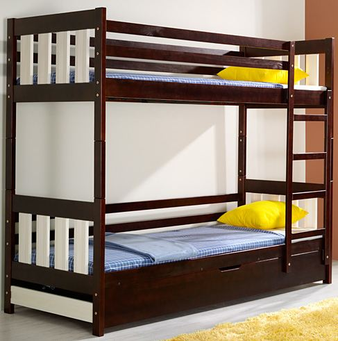 Dřevěná dětská patrová postel s úložným prostorem Kacper