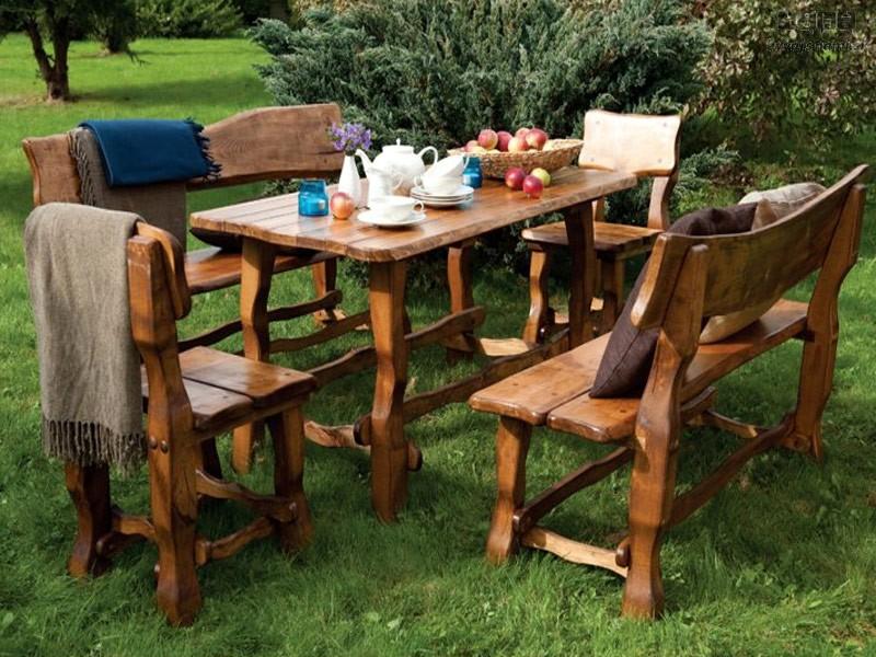 Zahradní set MO101 - 2 lavice, 2 židle, stůl - lakovaný