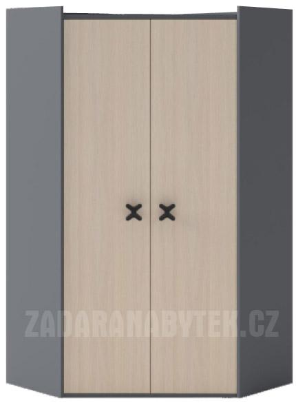 Rohová šatní skříň X02 Iks
