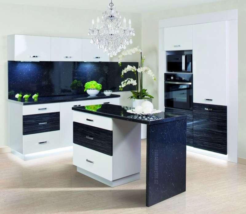 Moderní rohová kuchyně Carmen - vysoký lesk bílá / černý palisandr