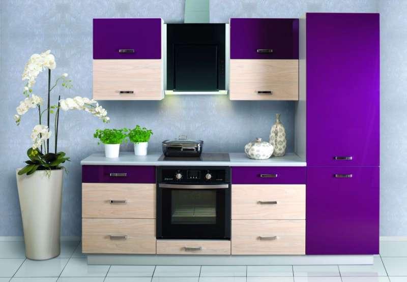 Moderní kuchyně Carmen - vysoký lesk fialová + wiaz / bílá