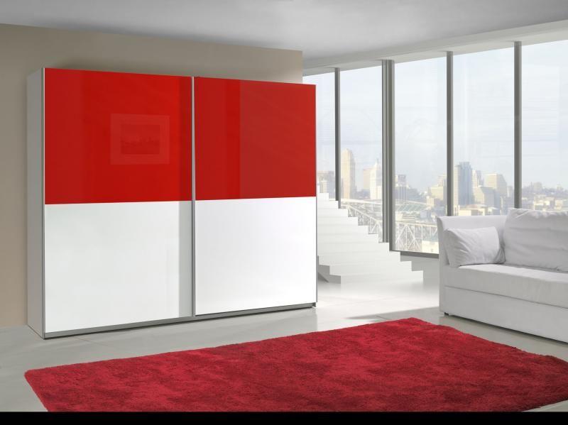 Šatní skříň Lux 17 bílo červený vysoký lesk
