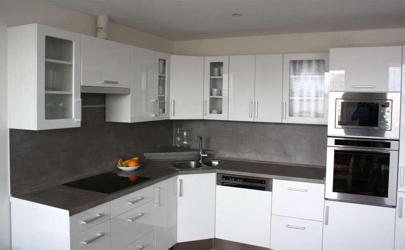 Rohová kuchyně Diana Formát bílý lesk včetně příslušenství
