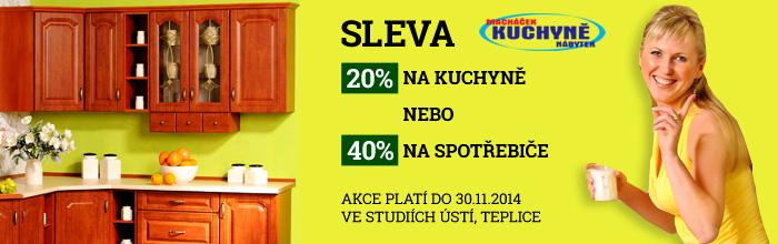 Nabízíme slevu 20% na kuchyně nebo 40% na spotřebiče