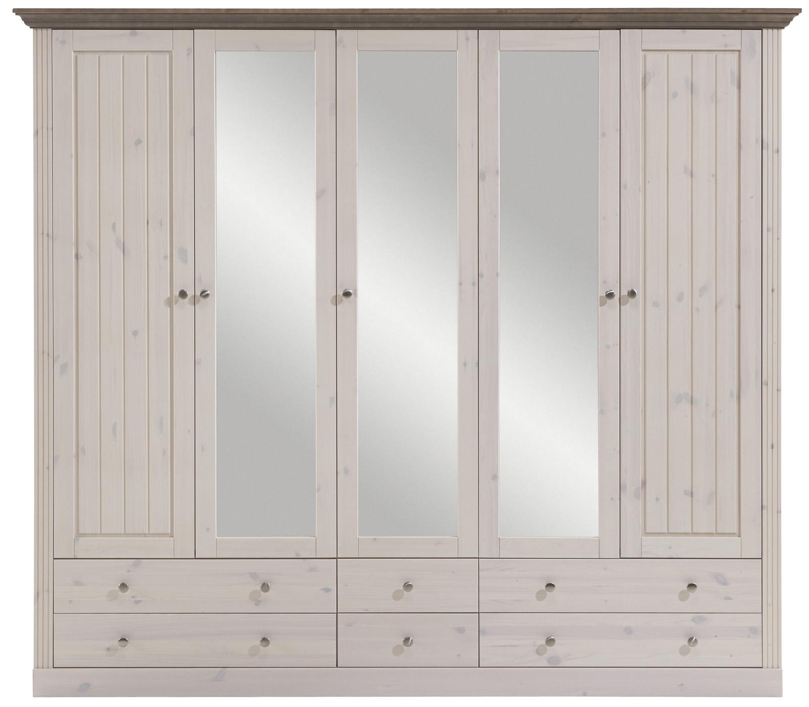 Bílá šatní skříň z masivu Monaco 115 bílá / stone