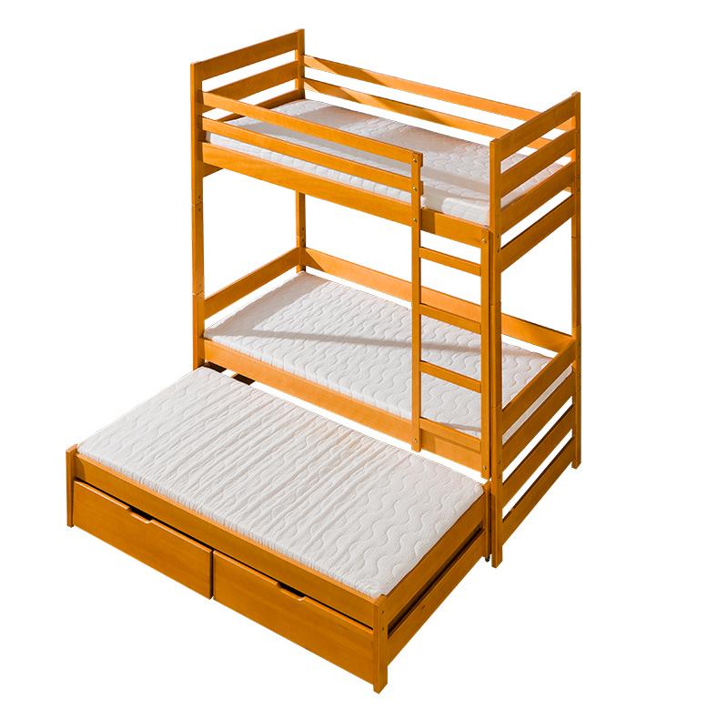 Dřevěná dětská patrová postel pro 3 osoby Filip