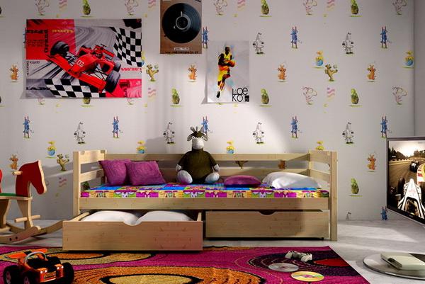 Dětská dřevěná postel VL 07