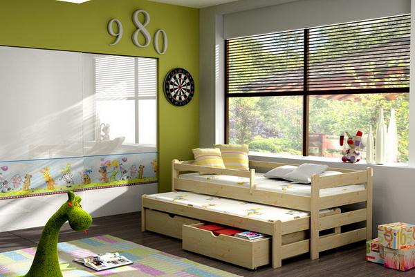 Dětská dřevěná postel s přistýlkou VLM 01