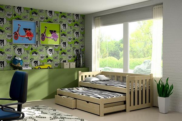 Dětská dřevěná postel s přistýlkou VLM 02