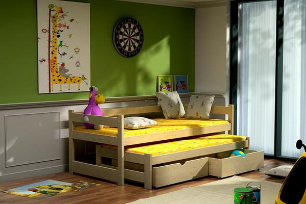 Dětská dřevěná postel s přistýlkou VLM 03