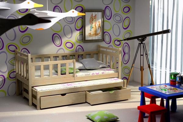 Dětská dřevěná postel se zábranou a přistýlkou VLM 04