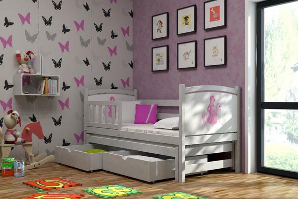 Dětská dřevěná postel se zábranou a přistýlkou VLM 05