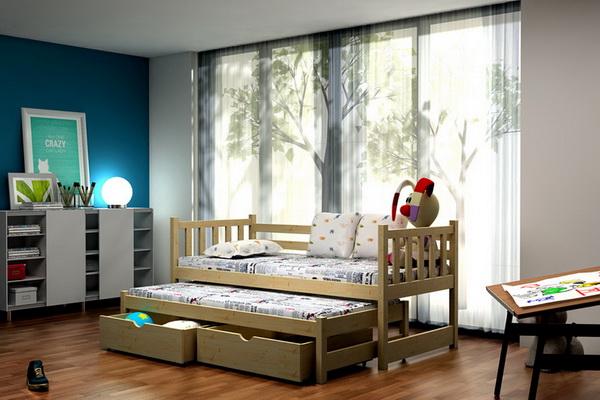 Dětská dřevěná postel s přistýlkou VLM 06