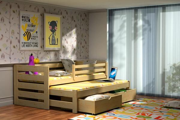 Dětská dřevěná postel se zábranou a přistýlkou VLM 07