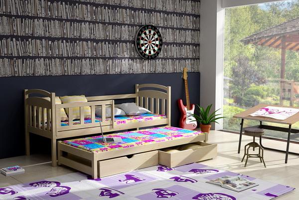 Dětská dřevěná postel se zábranou a přistýlkou VLM 08