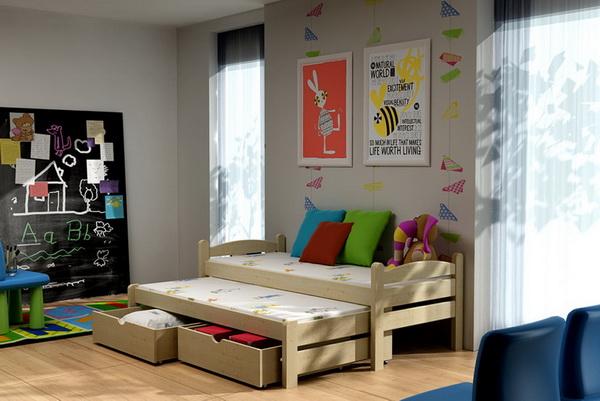 Dětská dřevěná postel s přistýlkou VLM 10