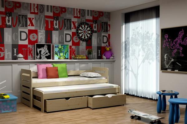 Dětská dřevěná postel s přistýlkou VLM 11
