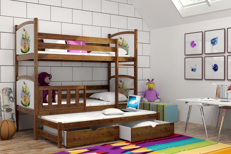 Patrová postel pro děti s přistýlkou LLP 05