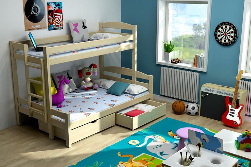 Patrová postel pro děti s rozšířeným lůžkem LLM 01