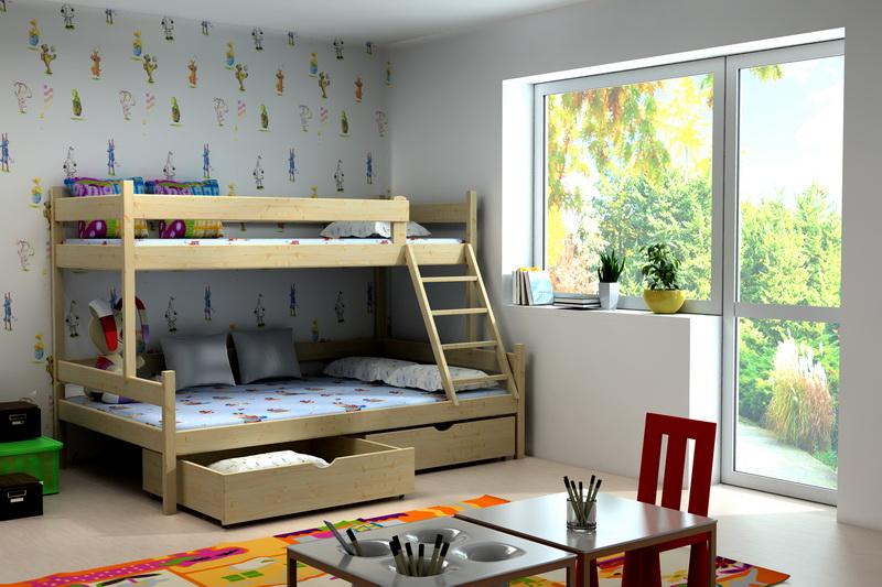 Patrová postel pro děti s rozšířeným lůžkem LLM 02