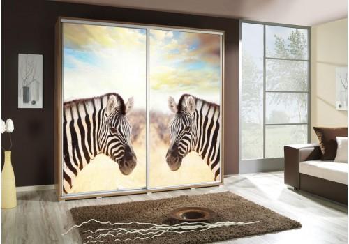 Šatní skříň s posuvnými dveřmi a obrázkem P - Zebry 3