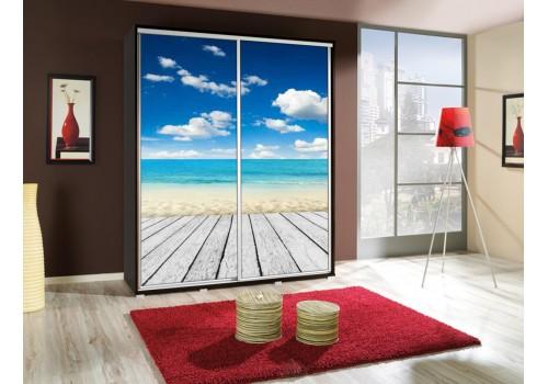 Šatní skříň s posuvnými dveřmi a obrázkem P - Pláž