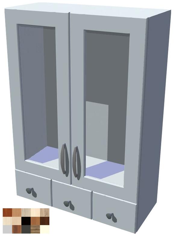 Horní skříňka Tina vitrína se šuplíky 60 cm