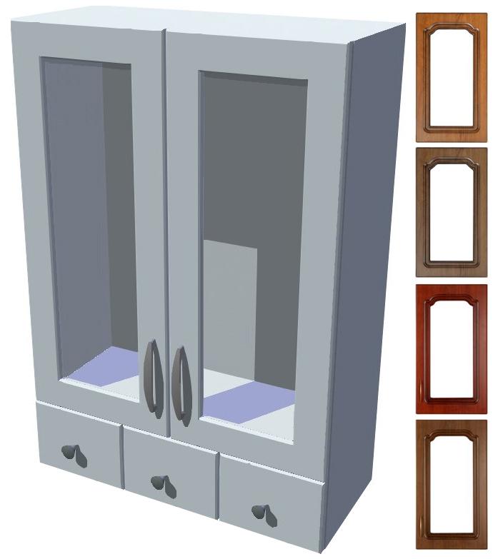 Rustikální horní prosklená skříňka Bolero se šuplíky