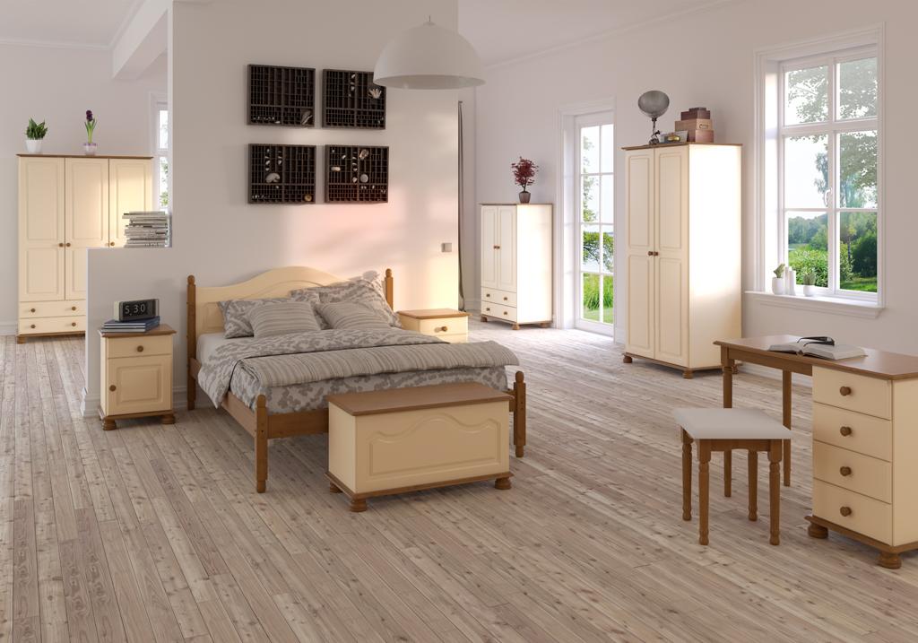 Ložnice ze dřeva Richmond - krémová MDF + borovice
