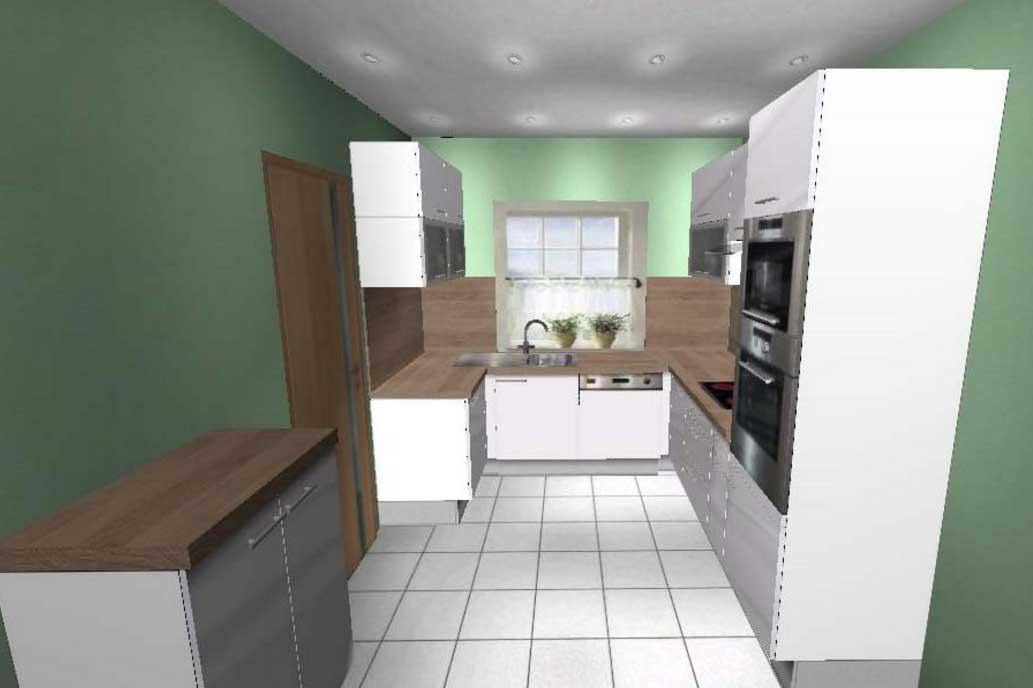 Bílá lakovaná kuchyně s moderními spotřebiči