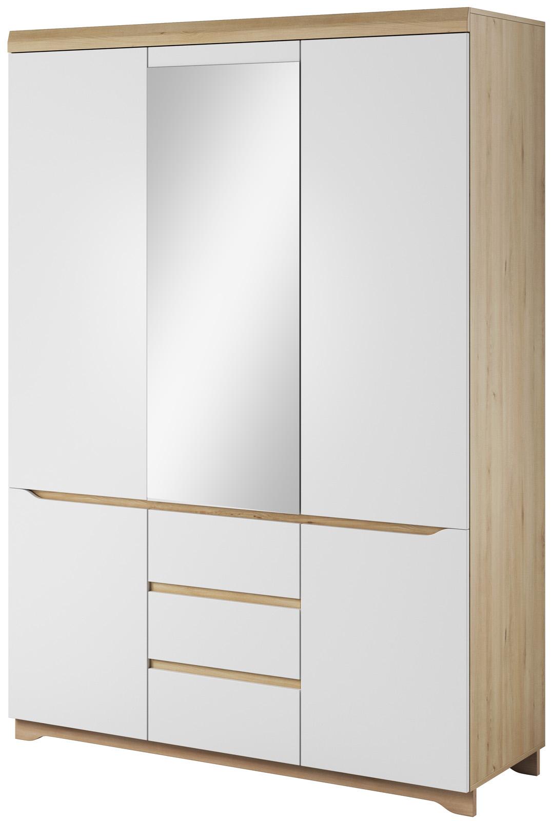Bílá šatní skříň se zrcadlem a šuplíky Antonio