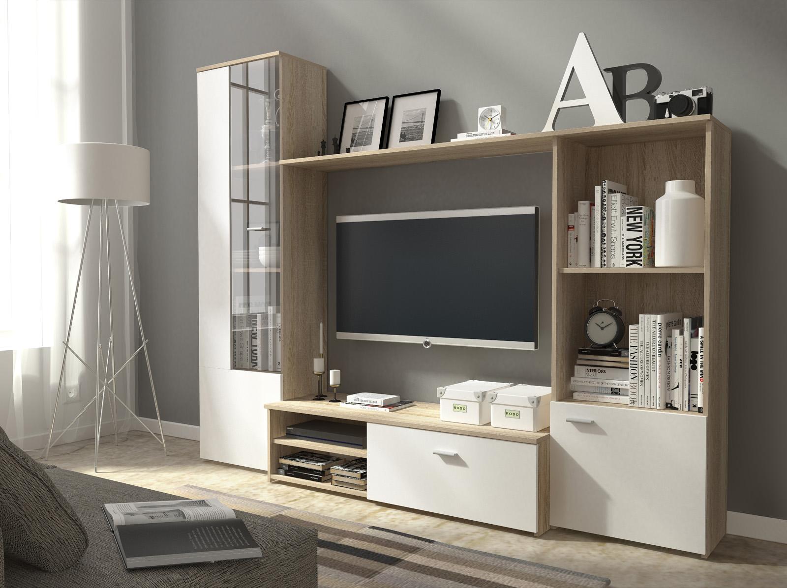 Obývací stěna Harry - dub sonoma + bílá