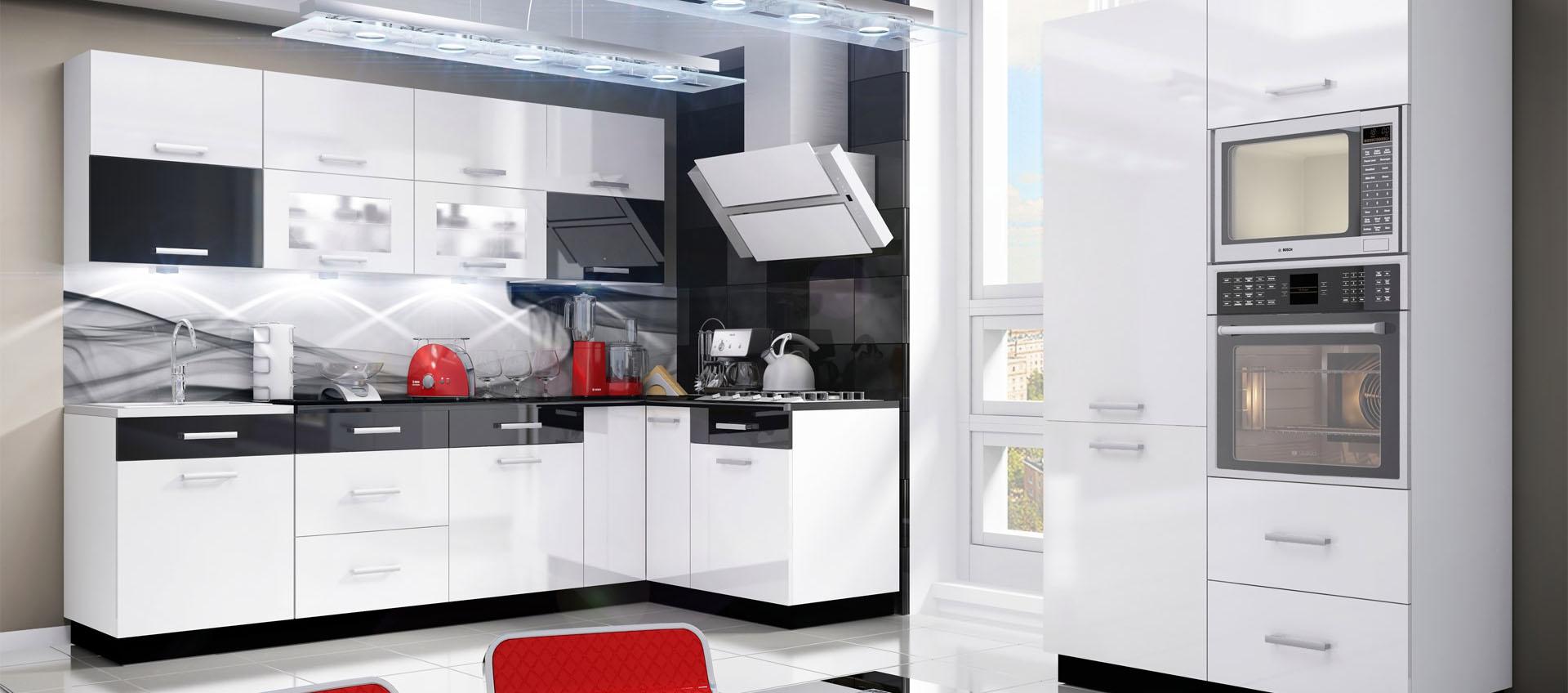 Bílá lesklá rohová kuchyně Carmen