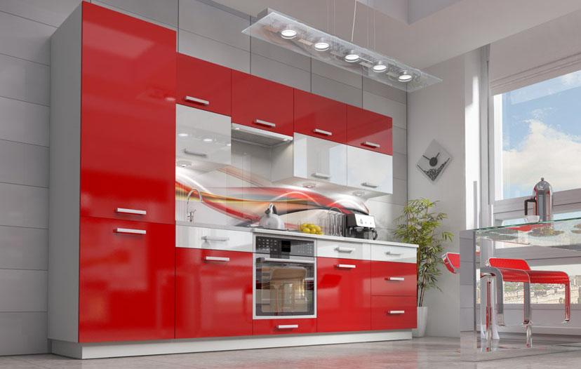 Červená lesklá kuchyně Carmen