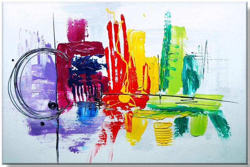 Ručně malovaný abstraktní obraz odraz na hladině