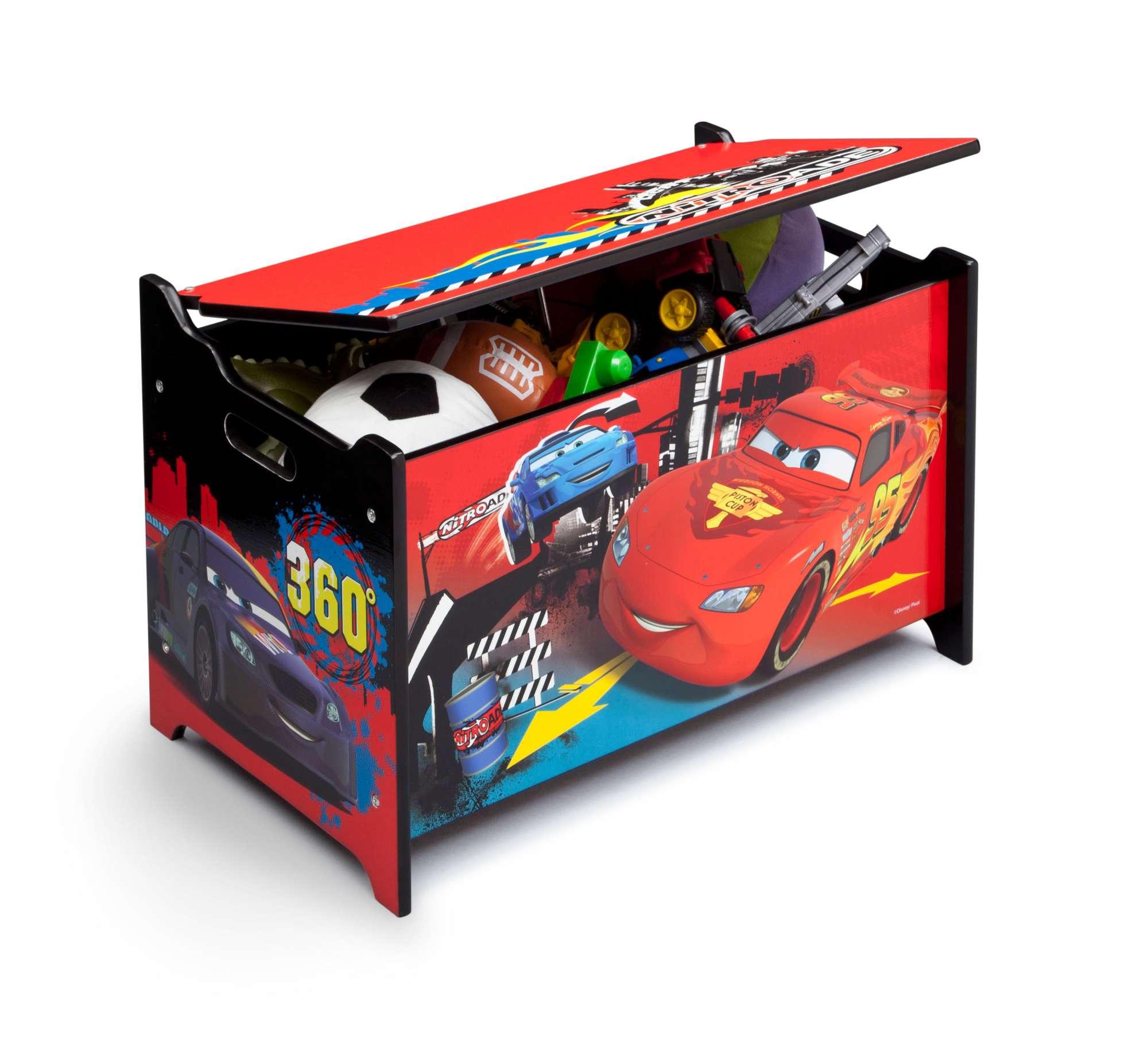 Dřevěná truhla na hračky Auta-Cars