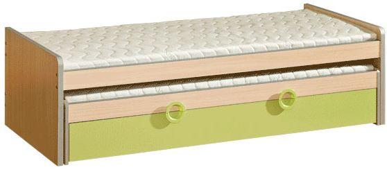 Dětská postel s přistýlkou a úložným prostorem zelená - výprodej