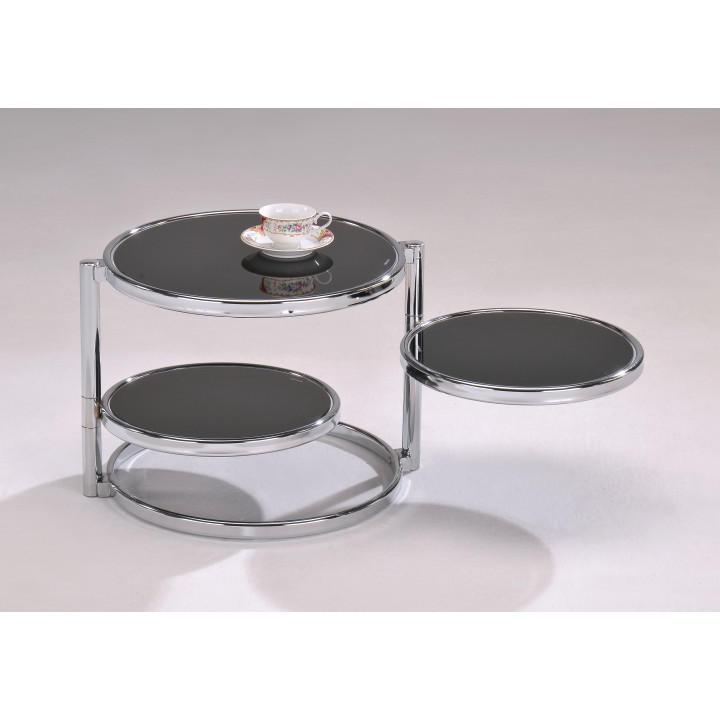 Konferenční stolek - chrom / černé sklo MOIRA