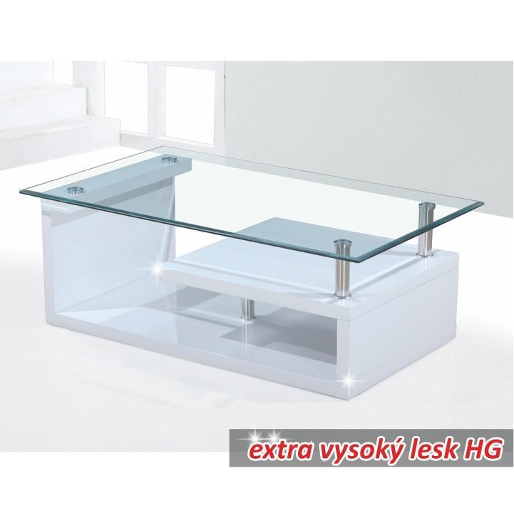 Konferenční stolek sklo bílá extra vysoký lesk HG JULIEN