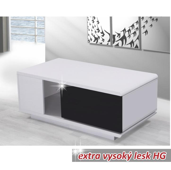 Konferenční stolek bílý / černá extra vysoký lesk Demba CT300