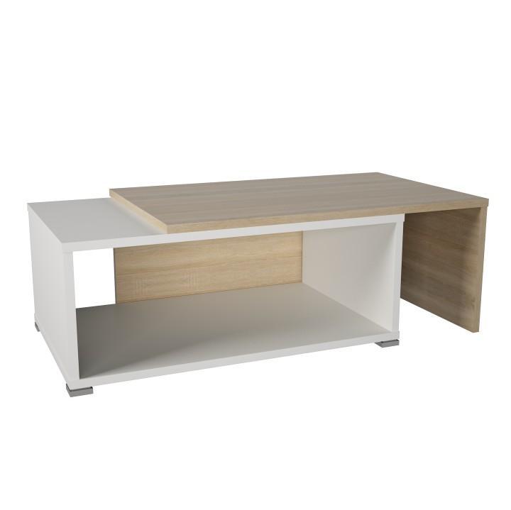 Konferenční stolek dub sonoma / bílá - rozkládací DRON