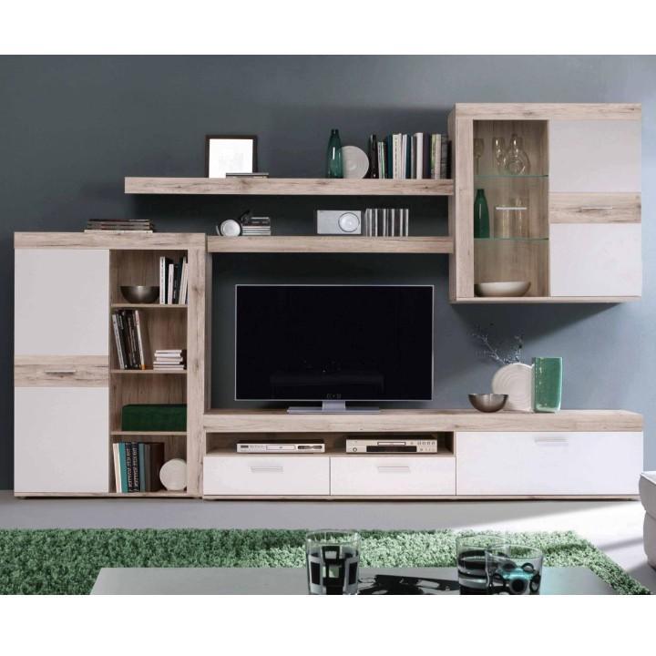 Obývací stěna, DTD fóliovaná, dub pískový / bílá, VALERIA OS